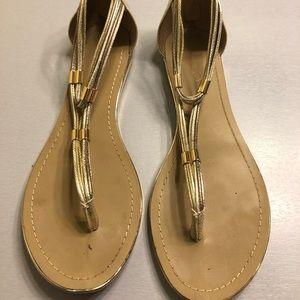 Gold flats sandals